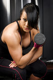 Muscular asian woman working out with weights Stock Photography