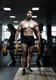 Muscular athletic bodybuilder fitness model Stock Images