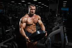Muscular athletic bodybuilder fitness model posing after exercises. Muscular athletic bodybuilder fitness model posing with weights after exercises in gym royalty free stock photo