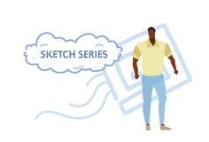 Muscular athletic man wearing casual clothes fashion style concept african american guy standing pose sketch doodle full royalty free illustration