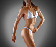 Muscular athletic young woman. Fitness Stock Image