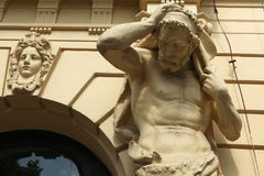 Muscular atlas supporting a Baroque building in Prague Stock Photography