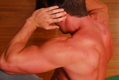 Muscular back exercising Royalty Free Stock Images