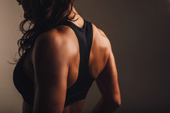 Muscular back of a woman in sportswear Stock Images