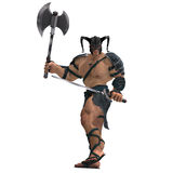 Muscular Barbarian Fight with Sword and Axe Stock Photography