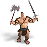 Muscular Barbarian Fight with Sword and Axe Stock Image
