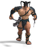 Muscular Barbarian Fight with Sword and Axe. With Clipping Path Stock Photos