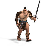 Muscular Barbarian Fight with Sword and Axe Royalty Free Stock Photography
