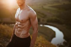 Muscular bare-chested man Royalty Free Stock Image