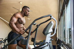Muscular black male bodybuilder exercising on step machine in gym stock photography
