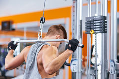 Muscular body building men training his back at the gym. Muscular body building man training his back at the gym Stock Image