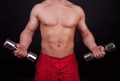 Muscular body and dumbbells Stock Photo