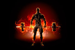 Muscular bodybuilder with barbell. Fire explode concept. 3d illu Royalty Free Stock Images