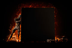 Muscular bodybuilder with blank board. Fire explode concept. 3d. Illustration Stock Images
