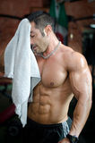 Muscular bodybuilder drying his face after workout in a gym. Muscular bodybuilder drying sweat from his face with a towal after workout in a gym Stock Photography