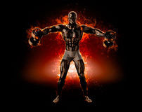 Muscular bodybuilder with dumbbells. Fire explode concept. 3d il Royalty Free Stock Images