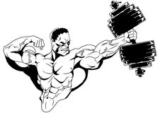 Muscular bodybuilder with dumbbells. Illustration,ink,black and white,logo,outline, on a white Royalty Free Stock Images