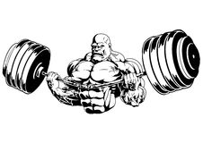 Muscular bodybuilder flex barbell. Illustration,logo,ink,black and white,outline,isolated on a white royalty free illustration