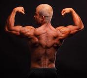 Muscular bodybuilder flexing biceps Stock Photo