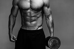 Muscular bodybuilder guy close up monochrome Stock Photography