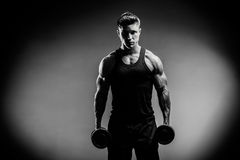 Muscular bodybuilder guy close up monochrome Royalty Free Stock Photo