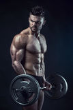 Muscular bodybuilder guy doing exercises with big dumbbell dumbb Royalty Free Stock Photography