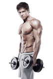 Muscular bodybuilder guy doing exercises with big dumbbell Royalty Free Stock Photography