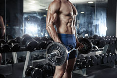 Muscular bodybuilder guy doing exercises with big dumbbell Royalty Free Stock Images