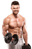 Muscular bodybuilder guy doing exercises with big dumbbell Royalty Free Stock Image