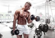 Muscular bodybuilder guy doing exercises with dumbbell. At the gym stock photo