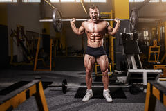 Muscular bodybuilder guy doing exercises with dumbbell Stock Image