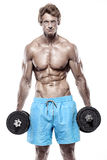 Muscular bodybuilder guy doing exercises with dumbbells Stock Images