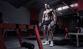 Muscular bodybuilder guy doing exercises with dumbbells. In gym Stock Images