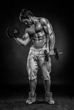 Muscular bodybuilder guy doing exercises with dumbbells over black background stock image