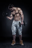 Muscular bodybuilder guy doing exercises with dumbbells Royalty Free Stock Images