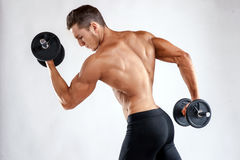 Muscular bodybuilder guy doing exercises with dumbbells over grey background with copyspace Royalty Free Stock Photo