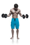 Muscular bodybuilder guy doing exercises with dumbbells over whi Royalty Free Stock Photography