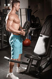 Muscular bodybuilder guy doing exercises with weight in gym Royalty Free Stock Image