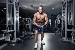 Muscular bodybuilder guy doing exercises workout in gym Stock Photo