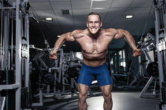 Muscular bodybuilder guy doing exercises workout in gym Stock Image