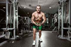 Muscular bodybuilder guy doing exercises workout in gym stock photography