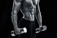Muscular bodybuilder guy doing posing Royalty Free Stock Image