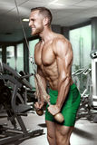 Muscular bodybuilder guy doing triceps exercises. In gym Royalty Free Stock Images