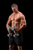 Muscular bodybuilder holding two weights Royalty Free Stock Images