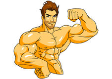 Muscular bodybuilder. Illustration,color,drawing, on a white Stock Photos
