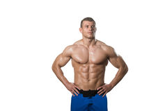 Muscular Bodybuilder Man Posing Over White Background. Young Muscular Man Posing In Studio Showing Abs - Isolated On White Background Royalty Free Stock Image