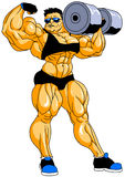 Muscular bodybuilder posing with dumbbells. Illustration,color,logo,isolated on a white Royalty Free Stock Photo