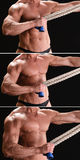 Muscular bodybuilder with rope Royalty Free Stock Image