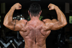 Muscular bodybuilder showing his back double biceps Stock Images