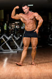 Muscular bodybuilder showing his biceps. Muscular body builder showing his biceps Royalty Free Stock Images
